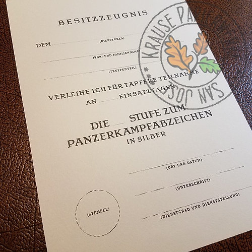 Panzer Badge - Certificate