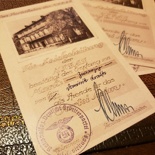 NSDAP (Nazi) Headquarters - Brown Housedonation (Braunes Haus Spende) receipt. Signed by Franz Xaver Schwarz - filled out.