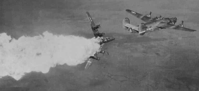American bomber hit by German flak