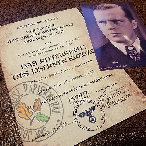 U-boot captain Albrecht Bradi - aged Knight's Cross certificate/document (Ritterkreuz vorläufiges Besitzzeugnis) with photo