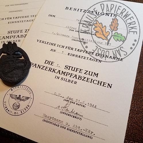 Panzerkampfabzeichen Verleihungsurkunde / Besitzurkunde; Customizable reproduction of award document for Panzer Badge