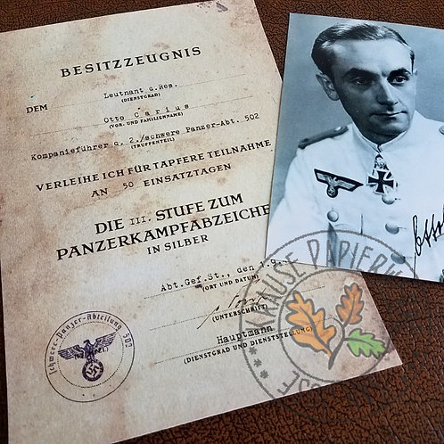 Otto Carius - Panzer Badge Award certificate (Panzerkampfabzeichen Bestizzeugnis) with signed photo