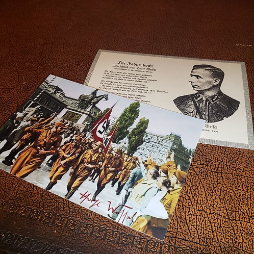 "Horst Wessel postcard with the lyrics of ""Die Fahne Hoch"" and autographed photo from Nazi Rally in Nuremberg 1929."