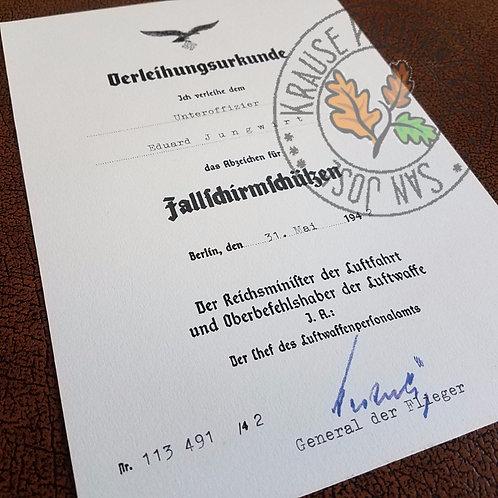 Luftwaffe Paratrooper Badge Award Certificate (Fallschirmschützenabzeichen Verleihungsurkunde) - customizable reproduction