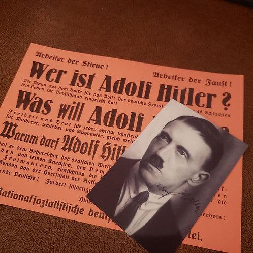 """Who is Adolf Hitler"" - early NSDAP broadside; ""Wer ist Adolf Hitler"""