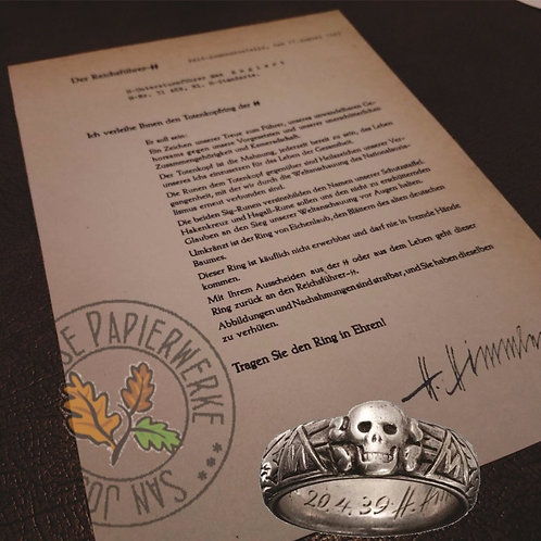 Accurate reproduction of SS Honor Ring (SS-Ehrenring, Totenkopfring) award letter signed by Heinrich Himmler himself - late