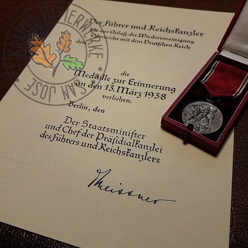 Anschluss Commemorative Medal (Die Medaille zur Erinnerung an den 13. März 1938) - signed by Meissner - reproduction document