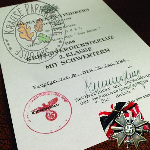 War Merit Cross with Swords (Kriegsverdienstkreuz mit Schwertern) - WW2 German award certificate / document reproduction