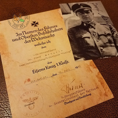 Josef Mengele - Auschwitz doctor, earlier doctor of Viking division - Iron Cross certificate and signed photograph