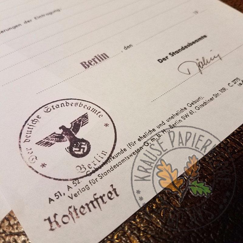 birth certificate geburtsurkunde stamp filled reich fill