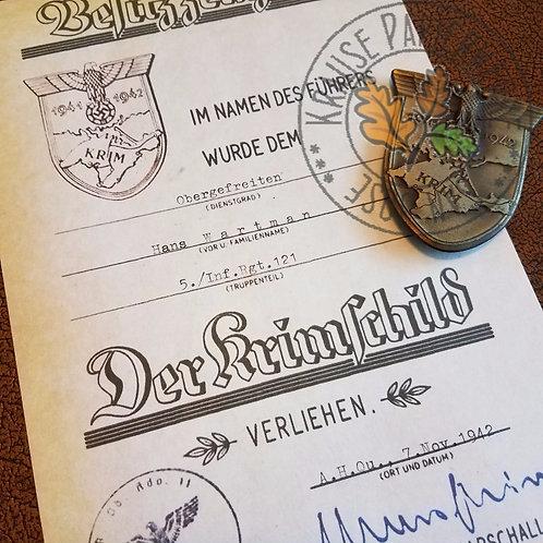 Crimea Shield award certificate / document / citation (Krimschild Verleihungsurkunde, Besitzurkunde) - Krause Papierwerke