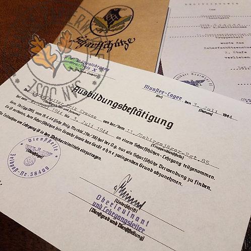 Reproduction of Sniper's Education completion certificate (Scharfschütze Ausbildungsbestätigung). Blank or filled out.
