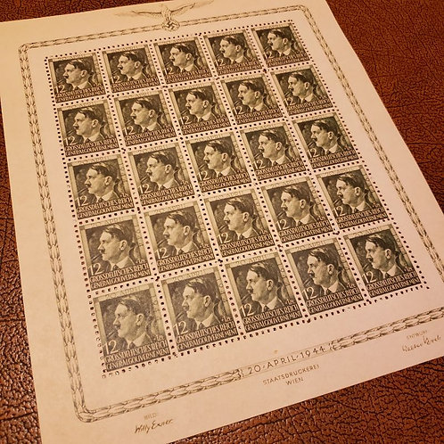 Block of 25 stamps for 55th birthday of Adolf Hitler. Issued in General Government (occupied Poland)