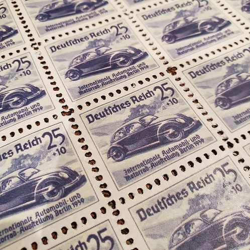 Post stamps - international car exhibition in Berlin 1939 showing KdF  Wagen, later known as Volkswagen (VW) Beatle