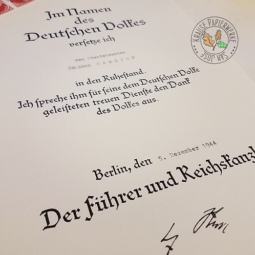 Retirement document from Adolf Hitler himself.