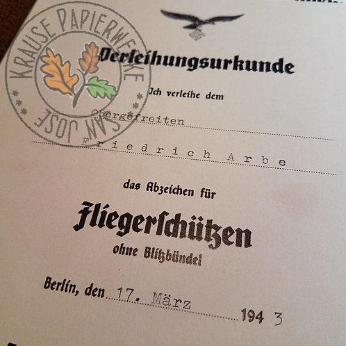 Air Gunner Badge (Fliegerschützenabzeichen) - award certificate / diploma / document (Verleihungsurkunde / Besitzurkunde)
