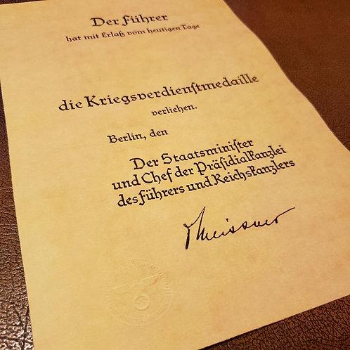 "War Merit Medal award certificate (document, citation); Kriegsverdienstmedaille Verleihungsurkunde; ""Prasidialkanzlei"" issue"