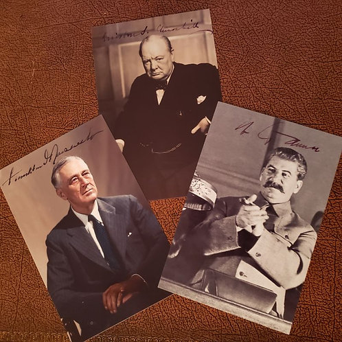 The Big Three - Churchill, Roosevelt and Stalin - signed photographs of the top WW2 leaders allied against Hitler's Germany.