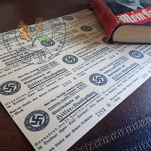 Adolf Hitler election rally tickets, 23 July 1932, Sportpark Ostra Dresden - reproduction