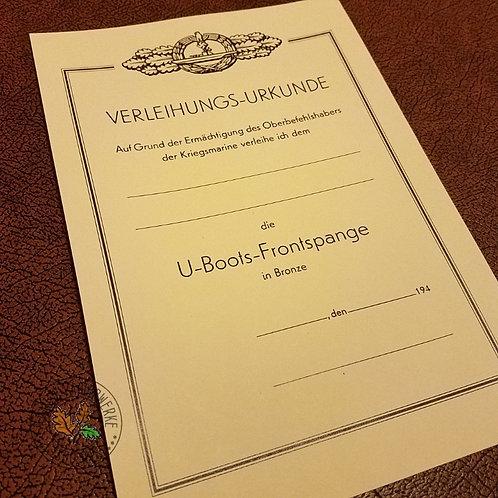 U-Boots Frontspange in Bronze, U-boot Front Clasp in Bronze - award certificate/document; Verleihungs-Urkunde / Besitzzeugnis