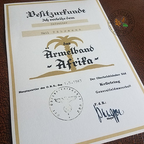 German Africa Cuff Title (Afrika Ärmelstreifen) - award certificate / document / citation / Verleihungsurkunde/Besitzurkunde