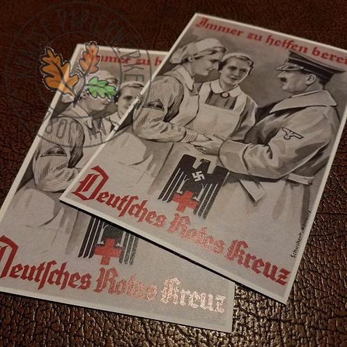 DRK Nurses with the Führer - Adolf Hitler. Reproduction postcard from Krause Papierwerke.