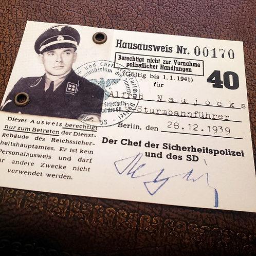 Alfred Naujocks - entry pass for Reich Main Security Office (Hausausweis Reichssicherheitshauptamt / RSHA)
