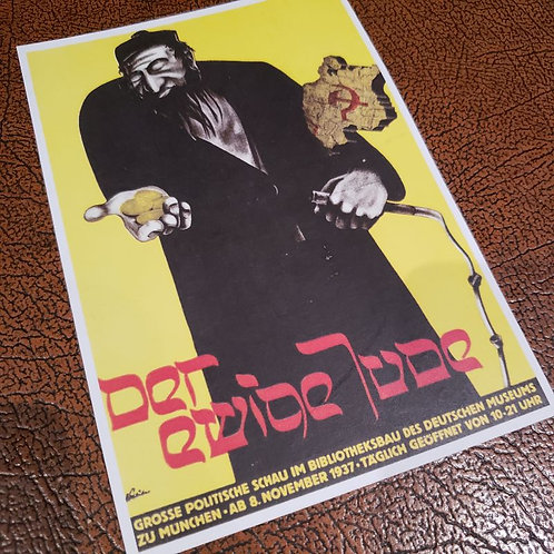 "Postcard advertising anti-semitic ""big political exposition"" titled ""Der ewige Jude"" (""The Eternal Jew"") in Munich (1937)"