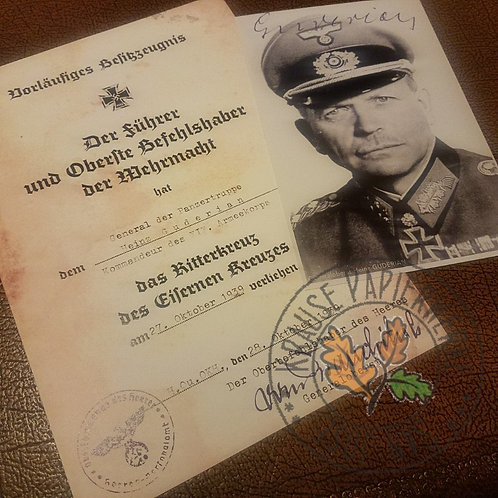 Heinz Guderian - Knight's Cross of Iron Cross award certificate signed by von Brauchitsch. With signed / autographed photo.