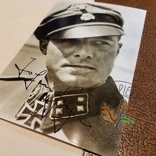 Jochen (Joachim) Peiper - autographed black and white picture - reproduction. Officer of German Waffen-SS.