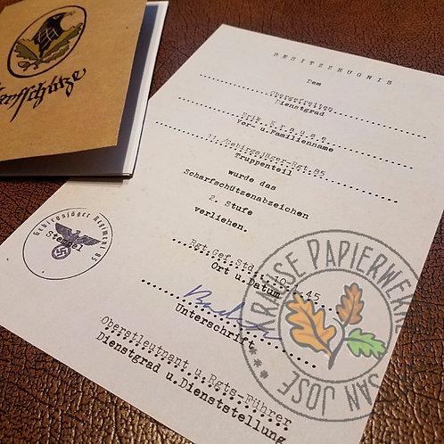 Reproduction of German WW2 Sniper Badge Award Certificate/Citation/Document (Scharfschützenabzeichen Besitzzeugnis) - filled