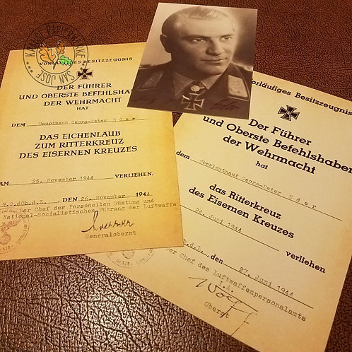 Georg-Peter Eder's- Luftwaffe fighter ace - award documents for Knight's Cross of Iron Cross & Oak-leaves with signed photo