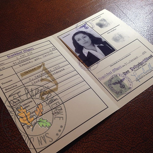 German Jewish Photo ID from Third Reich Era (Jude Kennkarte) - filled out reproduction from Krause Papierwerke
