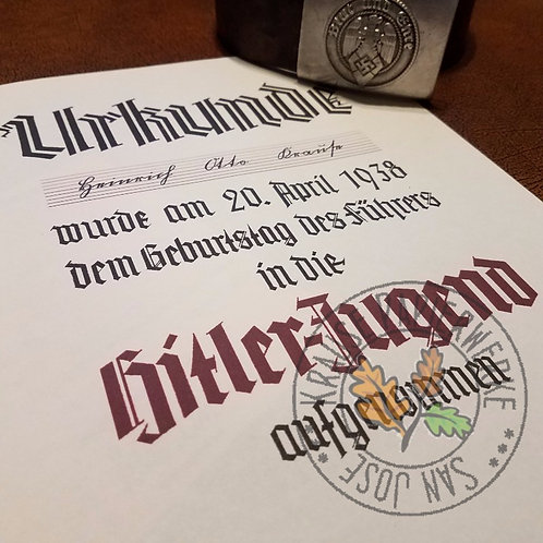 Hitler-Jugend Admission Certificate (Urkunde). Good for HJ, BDM and Jungvolk