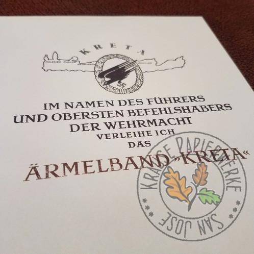 Crete (Kreta) Cuff Title - Certificate / Award Document ...
