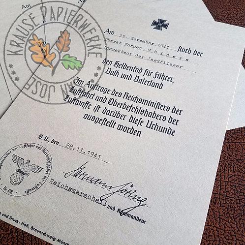 Customizable reproduction of Hero's Death Certificate for German WW2 Luftwaffe (Heldentod für Führer, Volk und Vaterland)