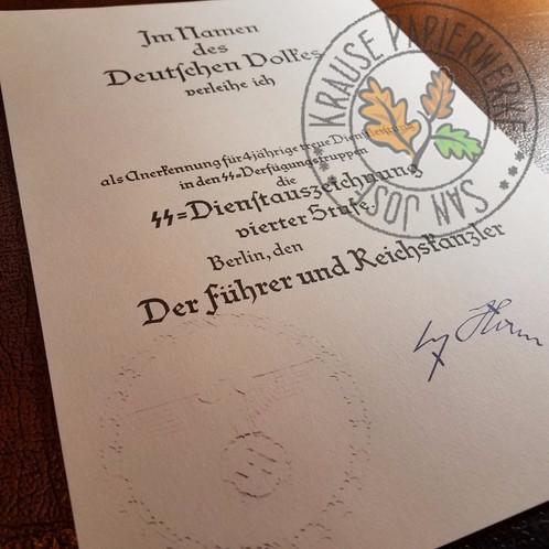 Long service award ss all classes certificate krause ss dienstauszeichnung vierter stufe verliehungsurkunde reproduction of ss long service award certificate 4 years yadclub Gallery