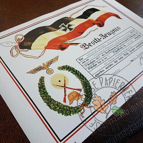 Customizable reproduction of Marksmanship Badge award citation (Schützenschnur Urkunde)