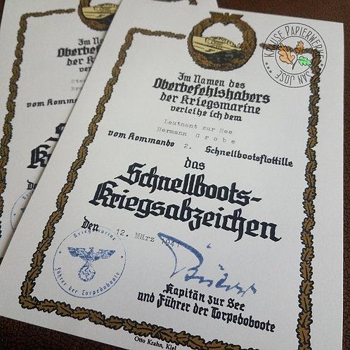 Filled out award document for Fast Attack Craft War Badge; Das Schnellbootkriegsabzeichen Verleihungsurkunde - early war