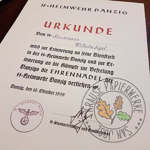 "Customizable reproduction of award certificate for the Honor Pin of SS-Heimwehr ""Danzig"" (Ehrennadel) - filled out version"