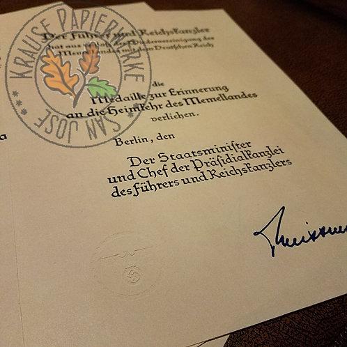 Certificate: The Return of Memel Commemorative Medal (Medaille zur Erinnerung an die Heimkehr des Memellandes 22. März 1939)