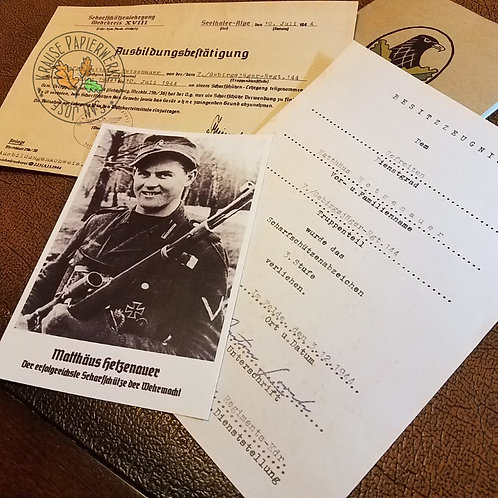 Matthäus Hetzenauer - top German sniper of WW2 - Snipers Badge 1st class and training certificate
