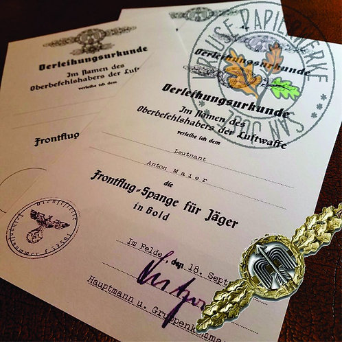 Reproduction of award certificate/document Luftwaffe Front Flying Clasp for Fighter (Frontflugspange Verleihungsurkunde)