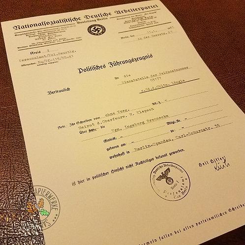 Politisches Führungszeugnis - Political Conduct / Background certificate from NSDAP Gauleitung of Berlin. Third Reich.