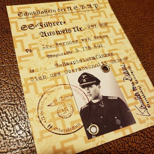 Wernher von Braun as SS officer - SS Photo ID (Ausweis) issued to man who propelled men to the Moon.