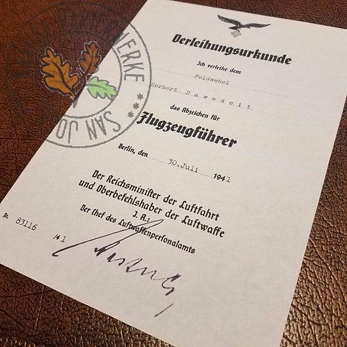 Luftwaffe Pilot Badge award document (Flugzeugführerabzeichen) - customizable reproduction