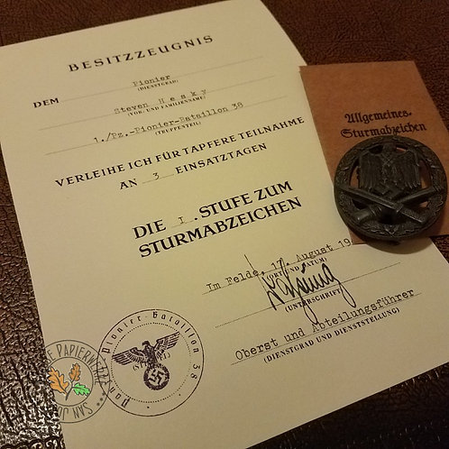 German WW2 General Assault Badge award certificate/citation/document (Allgemeines Sturmabzeichen Bestizzeugnis) - late