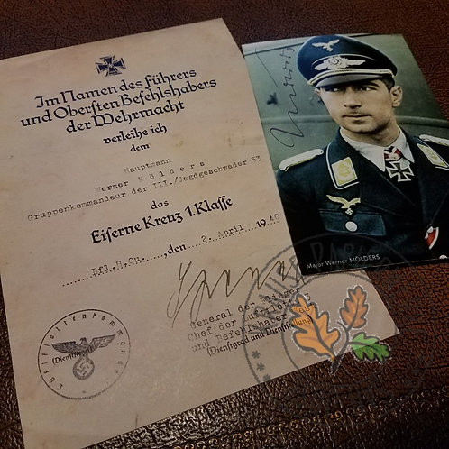 Werner Mölders - aged Iron Cross 1st Class document / certificate / citation with signed / autographed color photograph
