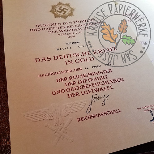 German Cross in Gold - official award certificate / document / citation for Luftwaffe. Deutsches Kreuz - Verleihungsurkunde.