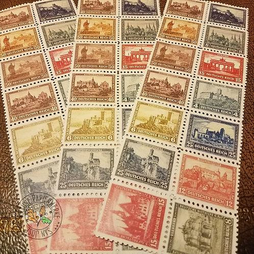 Nothilfe Bauwerke, Burgen und Schlösser Postmarken - German Castles & Palaces series of Nothilfe postage charity stamps